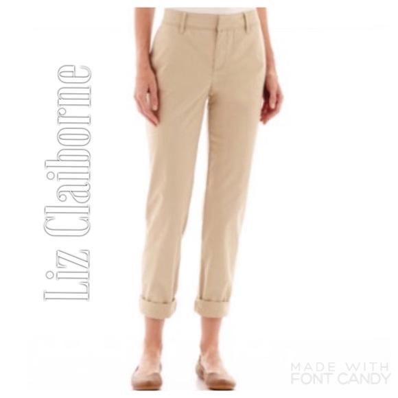 87d0b3fb52bb3 Liz Claiborne Pants - Liz Claiborne Beige Khaki Pants with Pockets